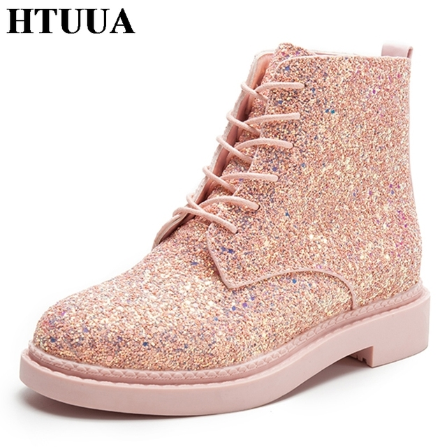 HTUUA Pink Sequins Glitter Ankle Boots for Women Casual Shoes Harajuku Punk  Martin Boots Autumn Casual Platform Shoes SX1664 8853b593bb56