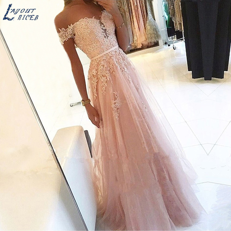 AE1219 New Elegant Off the shoulder Lace Appliques Tulle Evening Dresses Party Prom Dresses Formal Gowns Plus size Long Dresses(China)