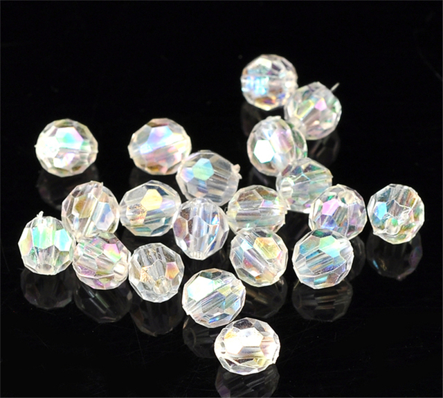 """DoreenBeads 500PCs Clear AB Color Round Faceted Acrylic Crystal Spacer Beads,6mm(2/8"""") Dia(B21666), yiwu"""