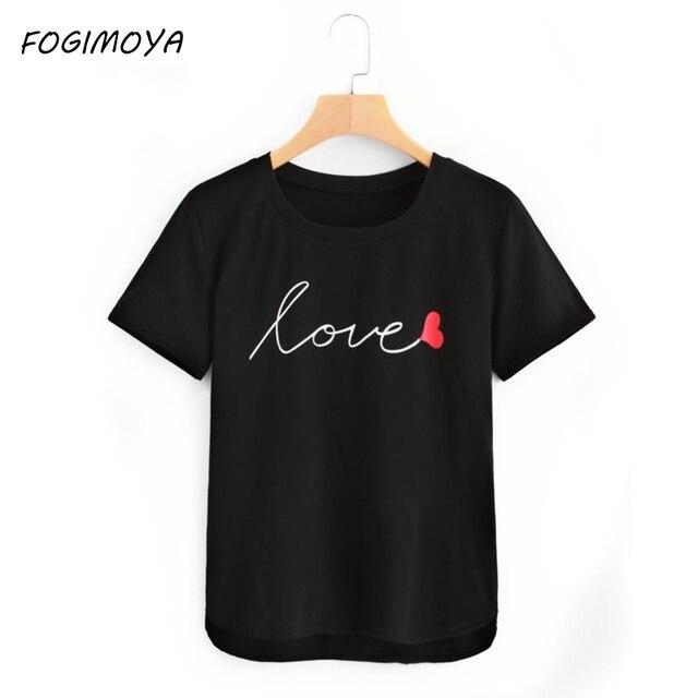 FOGIMOYA футболка с буквенным принтом для женщин Лето 2018 г. круглым вырезом Топы корректирующие Wilid простой короткий рукав топы корректирующи