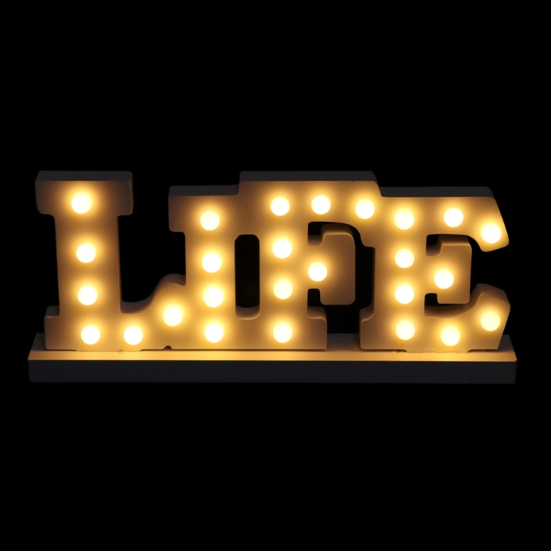 Wooden LIFE Letter LED Light Up Decoration Lamp Wedding Party Display Ornament