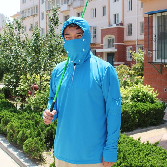 bbf1e936 Blue Fishing Clothes Breathable Sun Protection Anti-UV White Green Men  Quick Dry Fishing Shirt Outdoor Sports Top