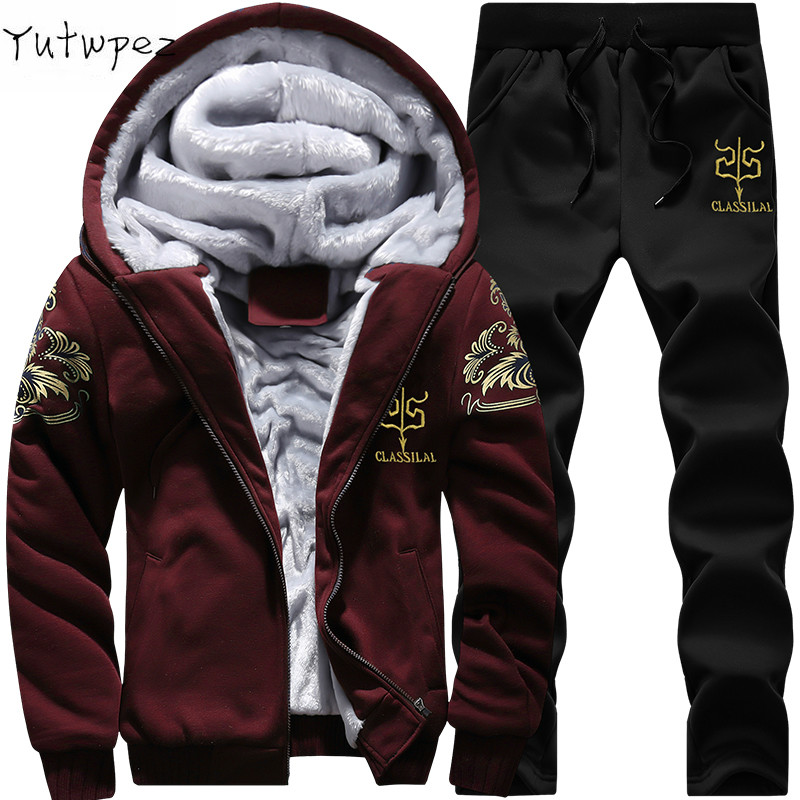 Tracksuit <font><b>Men</b></font> <font><b>Winter</b></font> Fleece Thick Hooded Casual Outwear + Pants Warm <font><b>Fur</b></font> Inside Zipper Moleton Masculino <font><b>Winter</b></font> Sweatshirt 2019 image