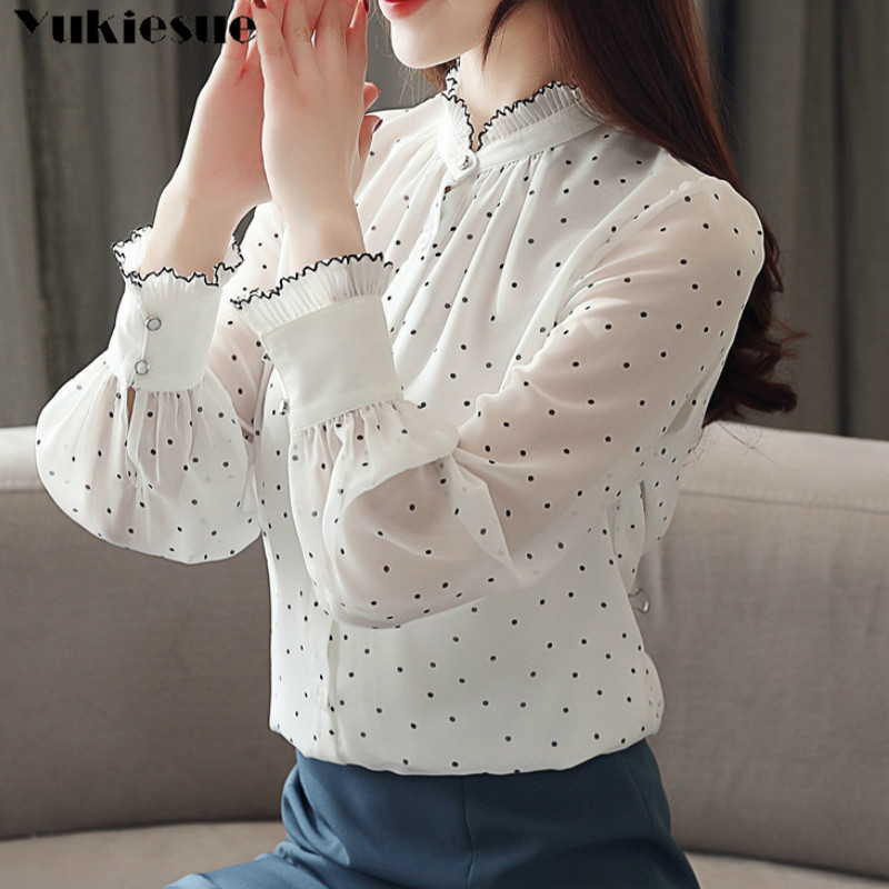 Fashion Women Chiffon Blouse 2019 Spring Long Sleeve Puff Blouse Ruffles Chiffon Lady Shirt Dot Pattern Lady Blouse Plus Size