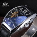 2016 SEWOR Brand Clock Classic Leather Band Tonneau Case Tourbillon Skeleton Men Mechanical Watch Fashion Automatic Wristwatch
