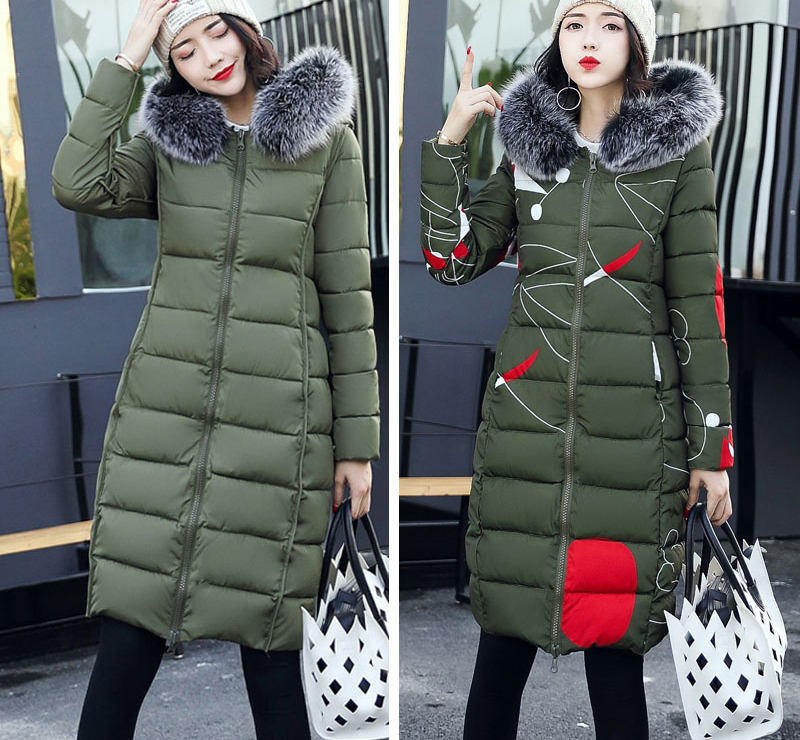 19 winter women hooded coat fur collar thicken warm long jacket female plus size 3XL outerwear parka ladies chaqueta feminino 16