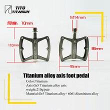 TiTo ultra light titanium axis pedals MTB road bike titanium alloy axis pedals Cycling platform CNC  1 pair