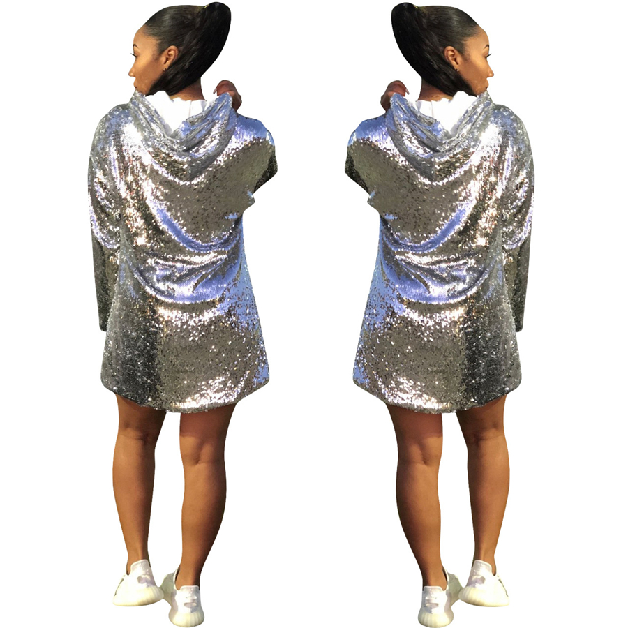 GuyuEra African Dress For Women European and American Women's Nightclub Long-sleeved Sequins Loose Hooded Hooded Dress (5)
