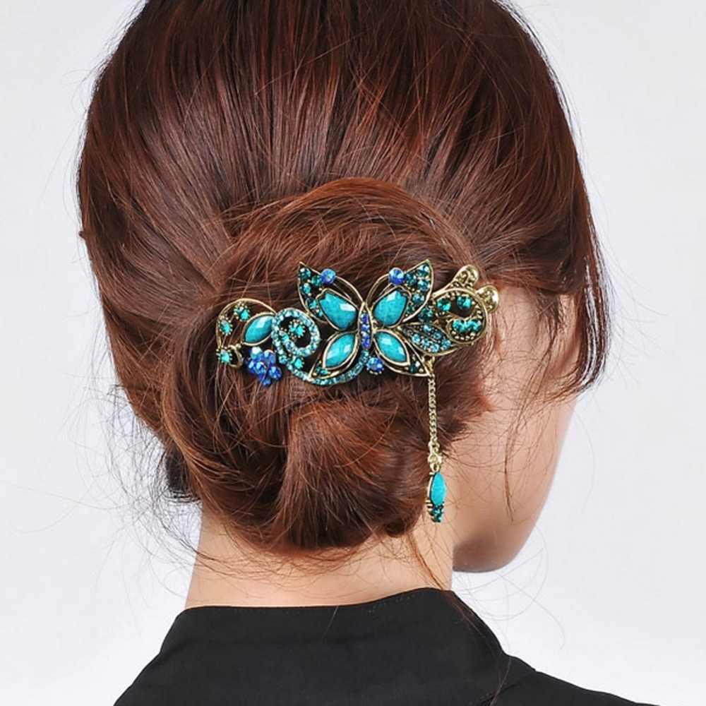 Ретро Винтаж бабочка заколки для волос заколки-крабы зажимы утка Стразы металлические Подвеска со стразами ювелирные изделия Свадебные