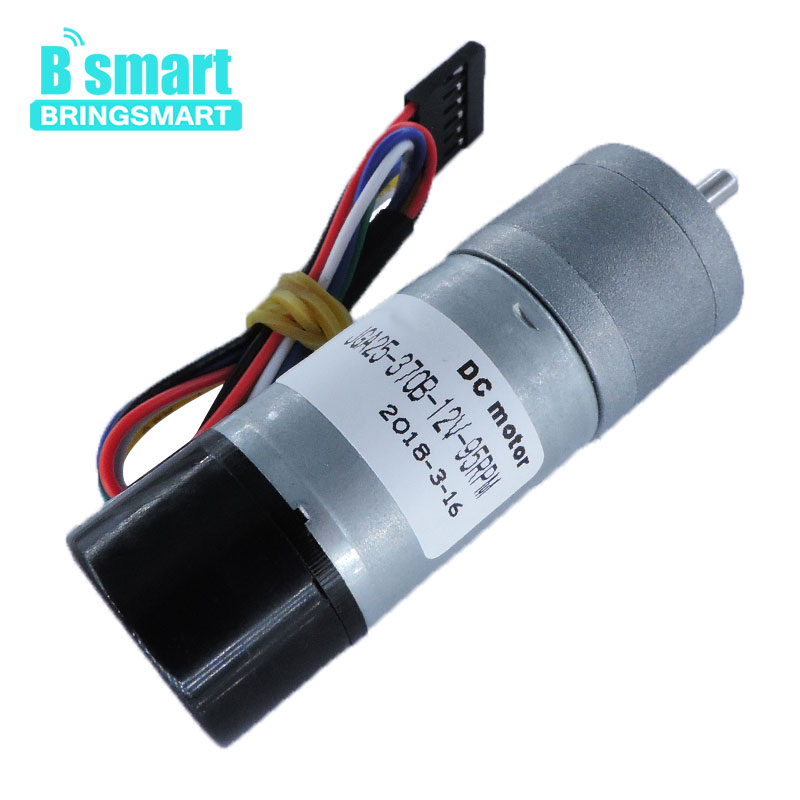 Bringsmart 12V DC 8.6-977rpm Encoder Motor Low Speed Brush Motor Mini Gear Electric Motor Fully Enclosed Encoder JGA25-370BBringsmart 12V DC 8.6-977rpm Encoder Motor Low Speed Brush Motor Mini Gear Electric Motor Fully Enclosed Encoder JGA25-370B