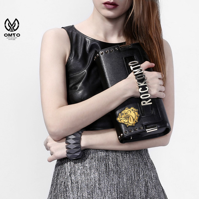 OMTO Luxury Brand Women Handbags Split Leather Clutch Bag Punk Style Shoulder Messenger Bag with Rivet Personality
