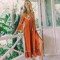 Maxi vestido Vintage rojo Coral 2020 ropa para mujeres cuello pico profundo lado Split vestidos Sexy playa Boho Floral bordado Chic vestido largo