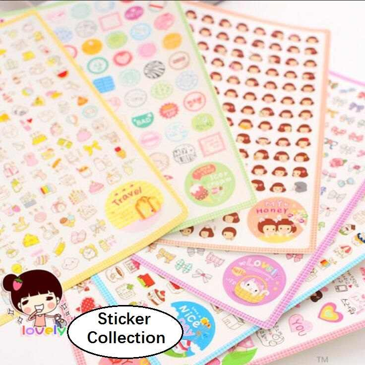 6sheets/pack Cartoon Scrapbooking Stickers Flakes Transparent PVC Stationery Planner Diary Stickers Material Escolar