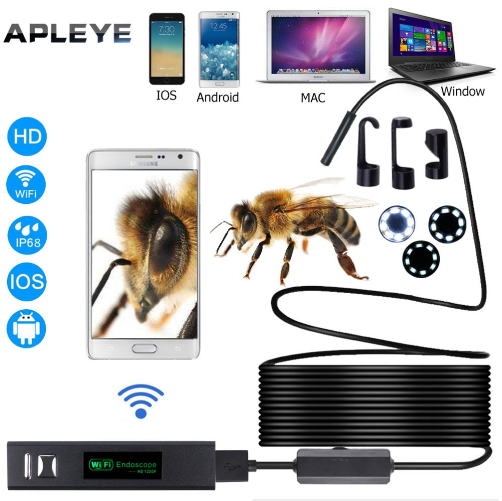 2018 New APLEYE Wifi Endoscope Camera Android 8mm 720P Endoscope Camera 8 LED light USB 1M Softwire Endoscopio Mini Borescope