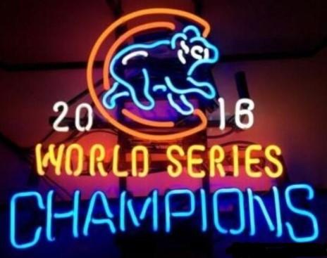 Chicago Cubs 2016 World Series Glass Neon Light Sign Beer Bar