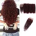 Indiano Cabelo Virgem Onda Profunda Com O Fechamento de 4 cabelo Humano Borgonha cabelo Pacotes Com Fechos de Renda Encaracolado Onda Profunda Pacotes Com fechamento