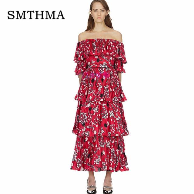 4b8f90c97965 SMTHMA 2019 New arrival Self Portrait Sexy Off Shoulder Runway printing Long  Dress women Pleated Maxi Summer Dress