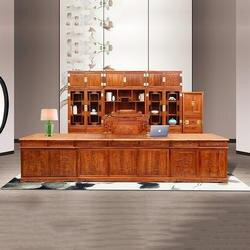 3,9 м китайские антикварные деревянный стол и стул для работы ежа палисандр мебели одноцветное Деревянная офисная мебель