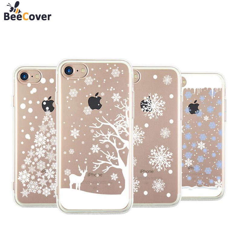 beecover for iphone 7 case christmas tree snowflakes elk soft tpu back cover shell for iphone 5 5s se 6 6s 7 8 plus 7plus cases in fitted cases from