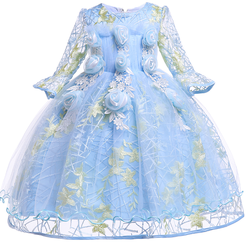 f83c1b13b Las chicas 3D Rosa flor vestidos de niños para niñas princesa boda Vestido  tul fiesta adolescente vestido de niños ropa de verano vestido de niña 10 T