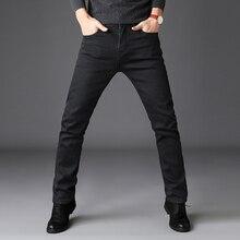 2019 שחור אפור מותגי ג ינס מכנסיים גברים בגדים שחור ג ינס אופנה מזדמן קלאסי סגנון כוח אלסטי סקיני מכנסיים זכר