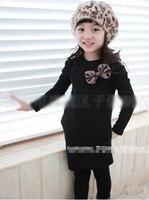 Vestido de la muchacha negro Puff Manga niñas vestido de moda 2015 ropa de los cabritos Del Bowknot populares vestido fantasia infantil de alta calidad