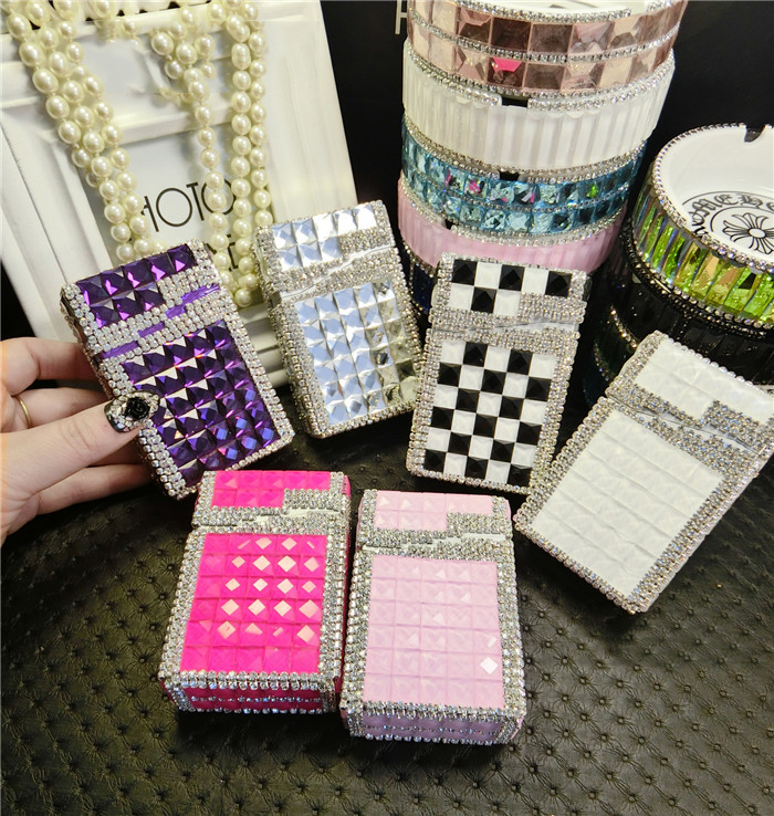 PITILLERA სიგარეტის საწინააღმდეგო მოწევა ინსტრუმენტი Diamond Automatic Cigarette Case, 20 ჩვეულებრივი Diamond Packs Cute Cigarette Case ალუმინის ყუთი