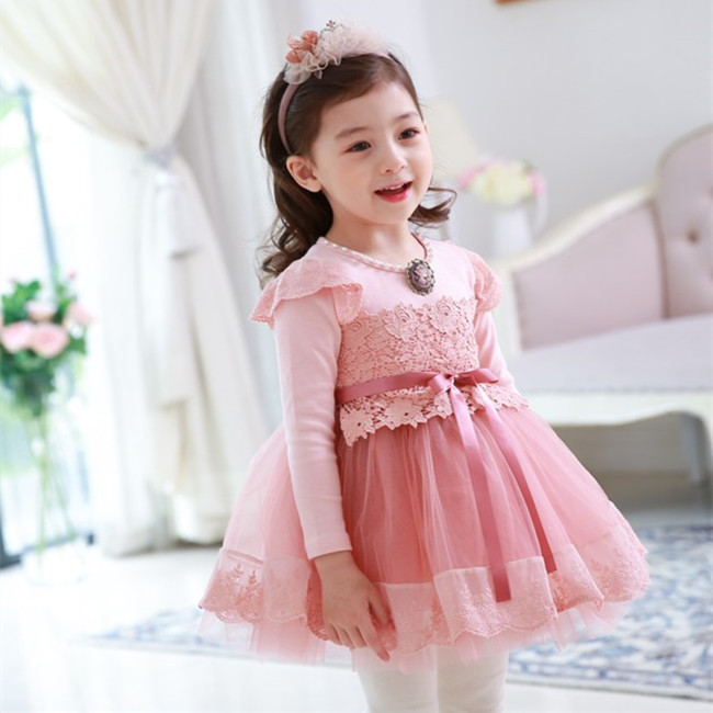 EMS DHL Free shipping 2017 New Tulle Dress Baby Girls Kids Toddlers Dress Long sleeve Lace Beaded Waistband 2-7 years 2 colors dhl ems 1pc new sick vs ve18 3e3940