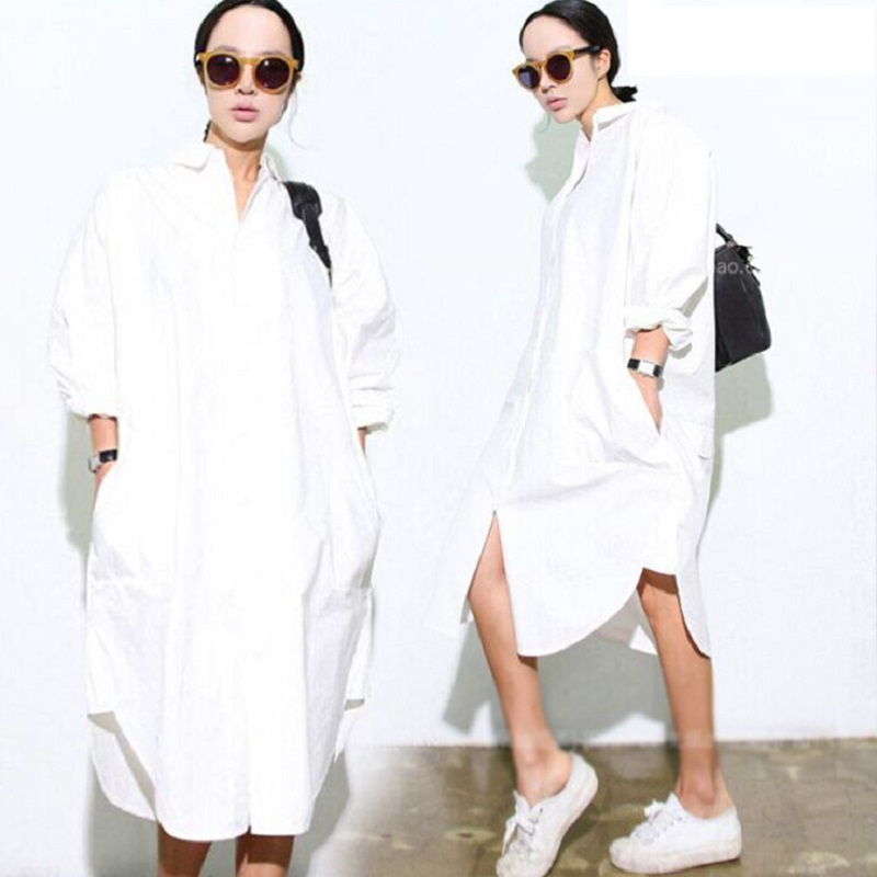 Free shipping womens plus large size long Straight brief Solid White color Cotton blouses oversized women shirt Dress