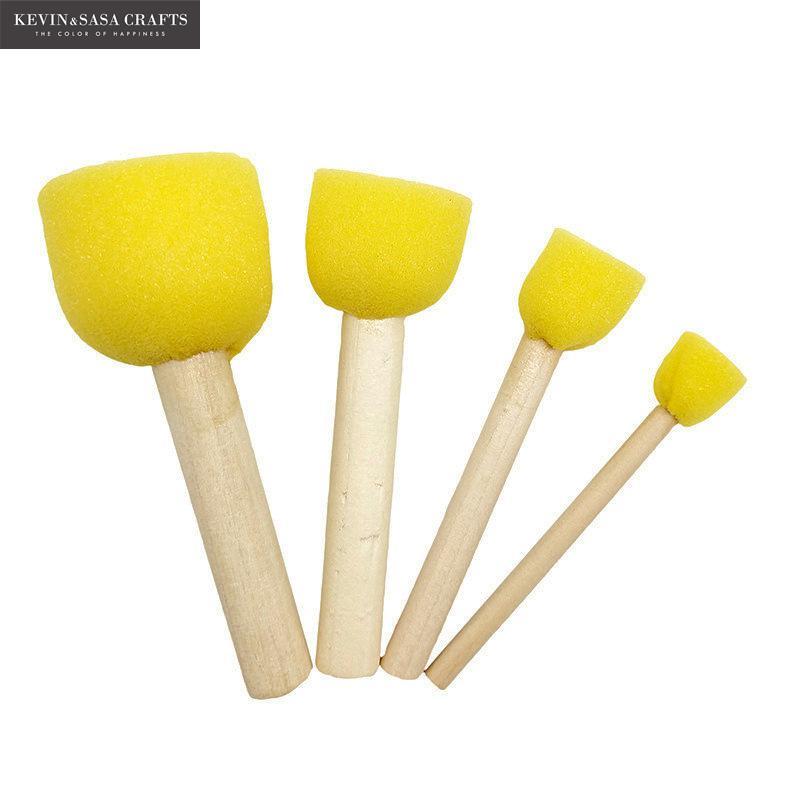 (4Pcs/Sell) New Sponge Brush For Kids Painting Watercolor Brush Art Supplies Brush Set Wooden Body Sponge Hair 4 Size Oil Paint