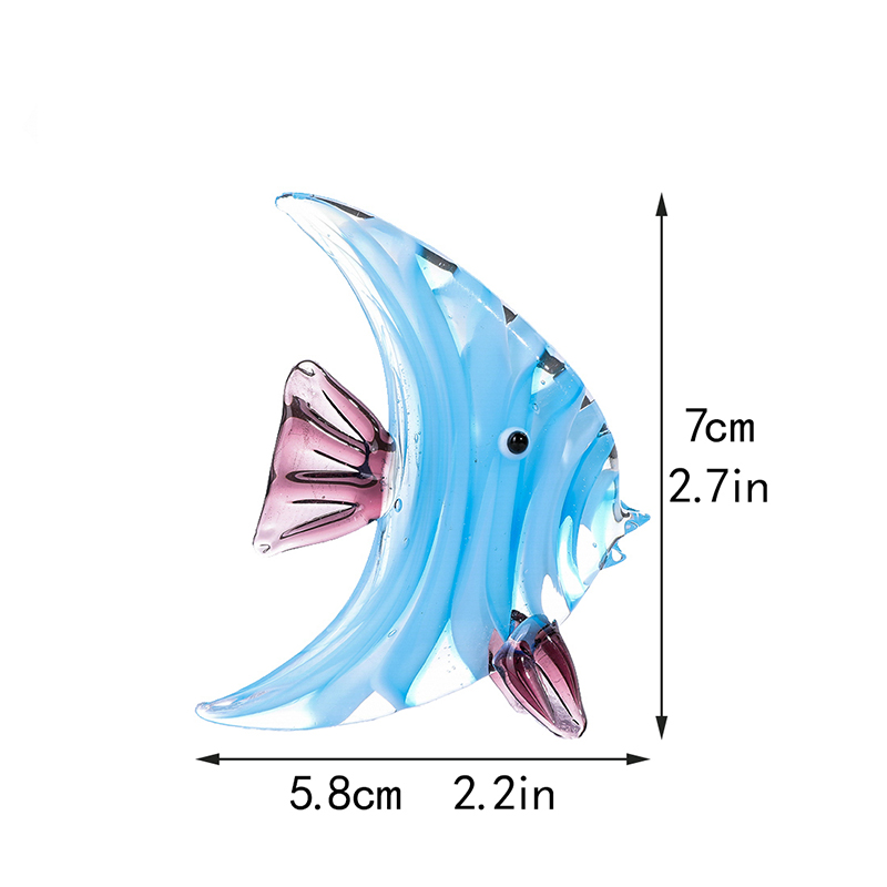 H&D Mini Fish Glass Blown Decorative Figurine Sea Animal Sculpture Handmade Craft Gifts For Kids Glass Art Home Table Decor  - buy with discount