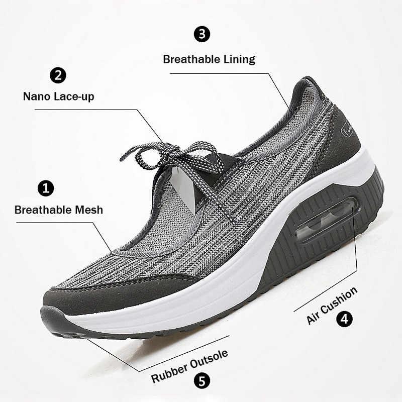 PINSEN/2019; кроссовки на плоской платформе; женская летняя повседневная обувь из дышащего сетчатого материала; женские криперы; мокасины; модная женская обувь на плоской подошве