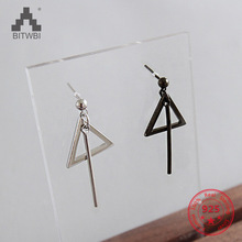 Elegant Triangle Ball Tassels Stud Earring 925 Sterling Silver Jewelry for Woman Fashion Gift anslow fashion jewelry new arrivals items dragonfly antique silver plated leather earring for woman mothe s day gift low0095ae