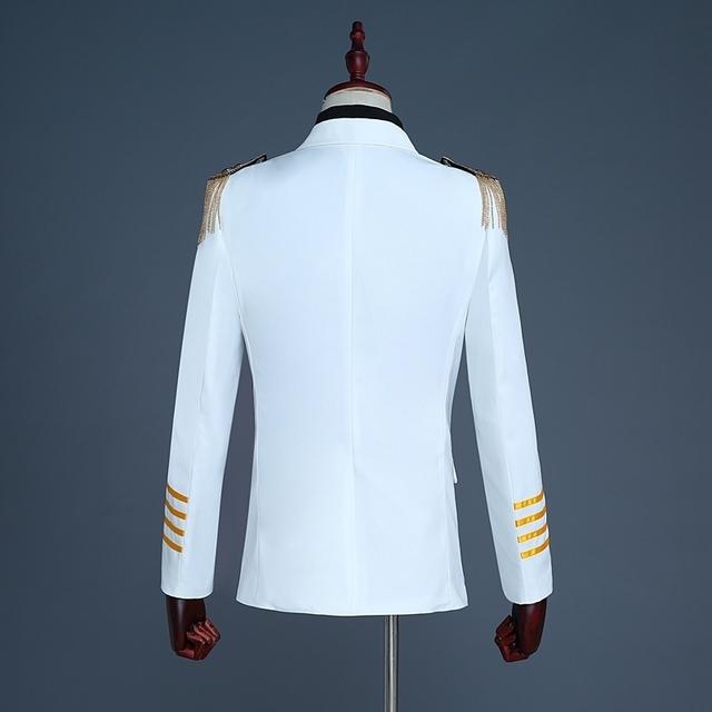PYJTRL Brand New White Navy Blue Mens Captain Suits Latest Coat Pant Designs 2018 Men Groom Wedding Suit Blazer Hombre Slim Fit