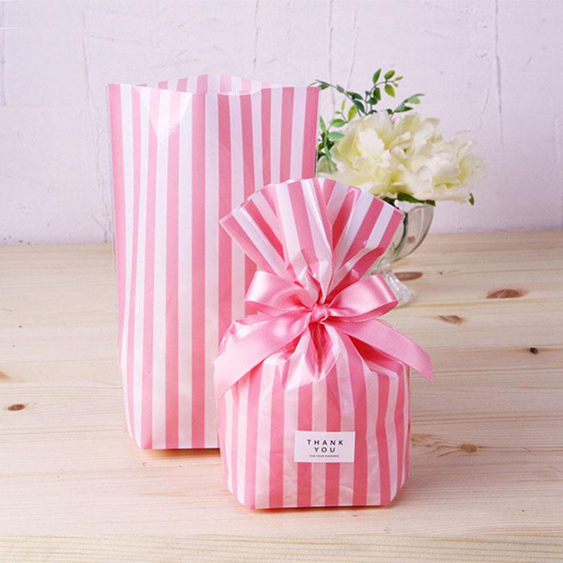 10 шт в полоску конфетная сумка DIY Baby Shower Пластик подарочные пакеты для печенья снэк упаковочный пакет для выпечки фестиваль вечерние постав...