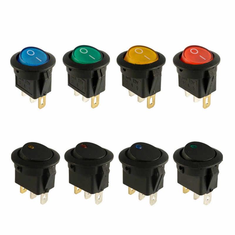 10 pièces interrupteur d'alimentation 12 V LED oeil de chat interrupteur à bascule rond 12 V interrupteur à bascule noir universel