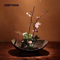 Японский дзен Стиль цветочный Винтаж элегантный ваза икебана Творческий дом Декор Настольный Еда чаша завод гидропоники Карликовые деревь