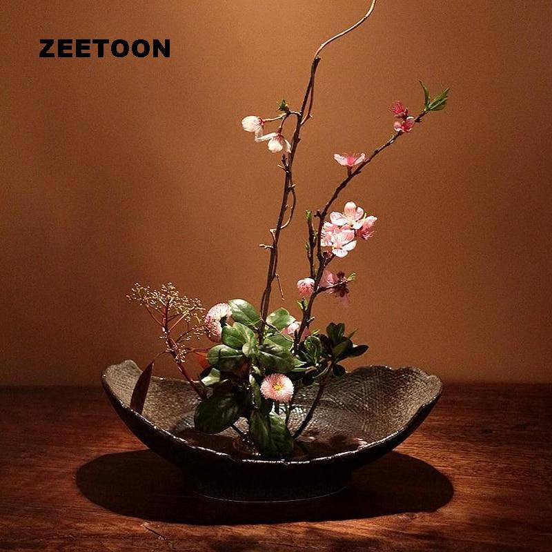 Japanese Zen Style Floral Vintage Elegant Vase Ikebana Creative Home Decor Tabletop Food Bowl