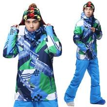 Gsou snow ski suit Men set single skiing clothing thermal