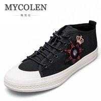 MYCOLEN 2018 Мода Высокое качество Мужская парусиновая обувь с высоким берцем Для мужчин Мужская обувь дышащая холст человек со шнуровкой кроссо