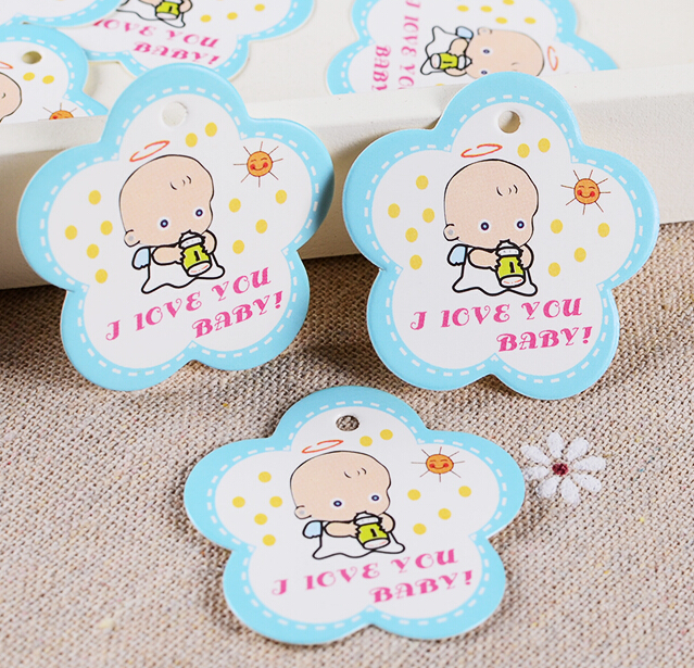 50pcs Lot 3 8 3 8cm Flower Shaped Baby Shower Paper Tags Gift Tags