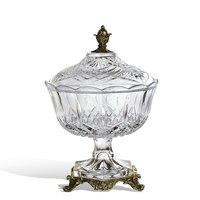 Роскошный домашний интерьер прозрачный стеклянный компот с крышкой творческая Фруктовая тарелка стеклянная инкрустированная медная чаша
