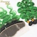 8А Норки Бразильских Волос 1B Зеленый Расслоения С Фронтальной Зеленый Ombre волос С Фронтальной Зеленый Кружева Фронтальная Закрытие С Пучками 4 Шт.