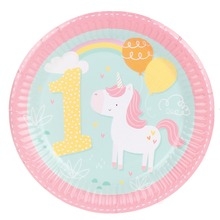 8pcs 7inch Cartoon Unicorn 1st Birthday Wedding Party Supplies Decoration Cake Dish Disposable Paper Plates Baby Shower Favors(China)