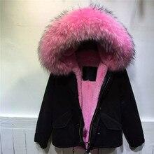 Warm winter Pink fur inside black jacket pure cotton coats women outwear thick warm fur hooded