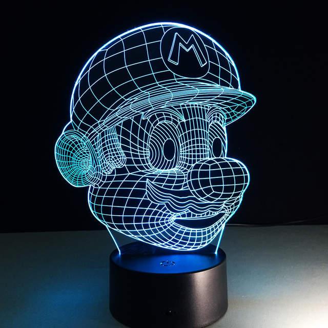 Super Mario Dos Desenhos Animados Lampara Led 3d Luz Da Noite