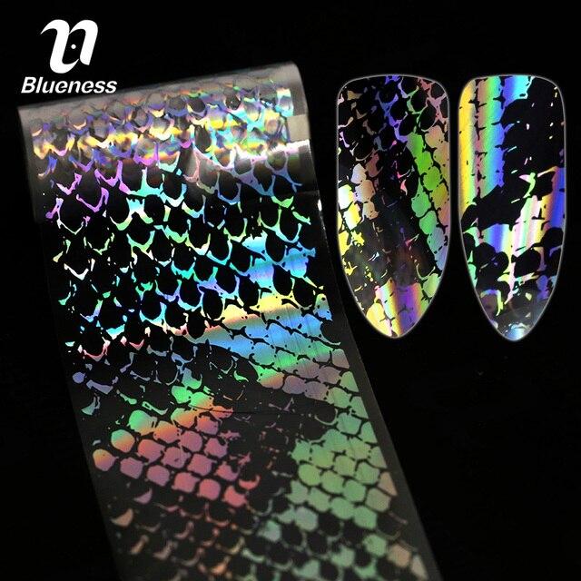 Blueness 1 Rolle Schlange Haut Design Laser Holographische Nägel Kunst Transfer Folie Aufkleber Nagel Klebstoffe Dekorationen Liefert Decals