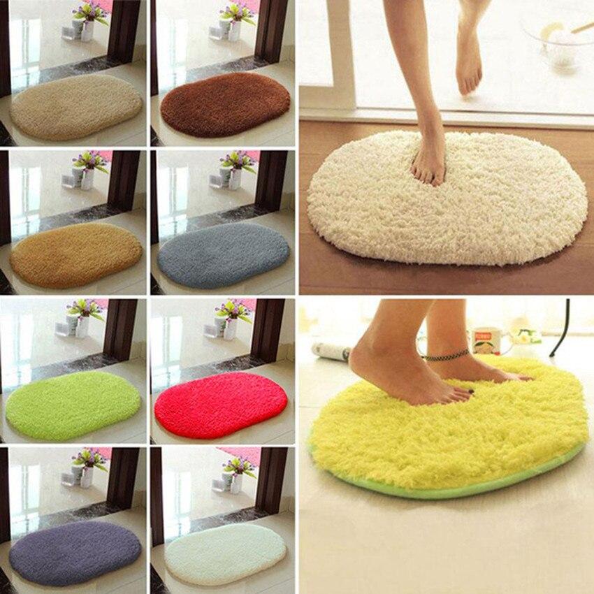 Hot Sale 30*50cm Anti-Skid Fluffy Shaggy Area Rug Home Bedroom Bathroom Floor Door Oval Colorful Mats S#70