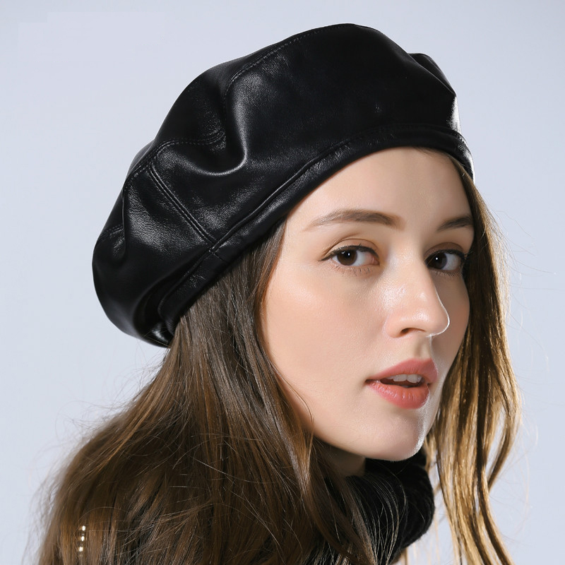Exclusive 2019 Spring Women Simple Eengland Style Genuine Leather Black Beanies Hat Female Beret Jazz Painter