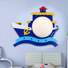 children room bedroom wall lamp is suitable for  living room study material for wood + PVC Boat cartoon ship  blue lamps